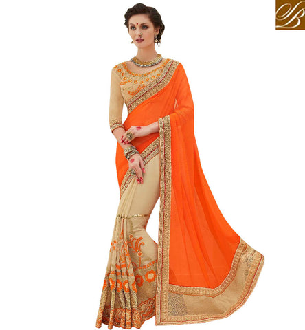 STYLISH BAZAAR BUY GLOWING DESIGNER CREAM GEORGETTE SAREE WITH GOLD BORDER INDIAN WOMEN STYLISH SARI COLLECTION MNJ47907