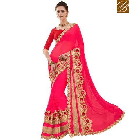 STYLISH BAZAAR BUY FASCINATING PINK SAREE WITH CONTRACT BLOUSE READY MADE SAREES FOR PARTY IN INDIA STYLISH BAZAAR ONLINE SHOPPING MNJ47908