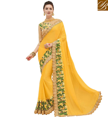 STYLISH BAZAAR CAPTIVATING YELLOW DESIGNER SARI WITH GOLDEN BORDER DESIGNER SAREES LATEST GEORGETTE SAREE COLLECTION ONLINE INDIA MNJ47909