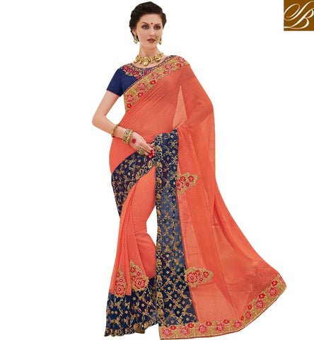 STYLISH BAZAAR ADORABLE PEACH DESIGNER SAREE WITH BLUE BLOUSE STYLISG BAZAAR LATEST SARI BLOUSE DESIGN COLLECTION 2017 MNJ47910