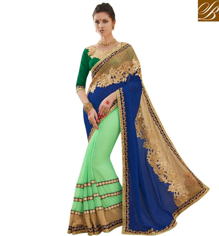 STYLISH BAZAAR EXQUISITE BLUE AND GREEN HALF SAREE WITH HEAVY EMBROIDERED BLOUSE DESIGNER SAREE FOR WEDDING ONLINE MNJ47911