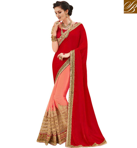 STYLISH BAZAAR ELEGANT HALF PINK AND RED GEORGETTE DESIGNER SAREE WITH GOLDEN BORDER BOUTIQUE SARIS FOR WOMEN ONLINE MNJ47912