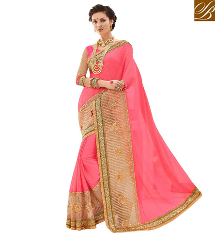 STYLISH BAZAAR DELIGHTFUL PINK EMBROIDERED HEAVY GOLD BORDER WEDDING SAREE STYLISH BAZAAR LATEST SARI BLOUSE DESIGN COLLECTION MNJ47914