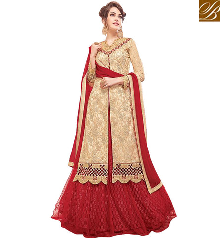 DESIGNER CREAM KAMEEZ WITH DUAL BOTTOM CHOICE OF ONE RED LEHENGA OR SALWAR WOMENS WEDDING CLOTHING MNJ47929