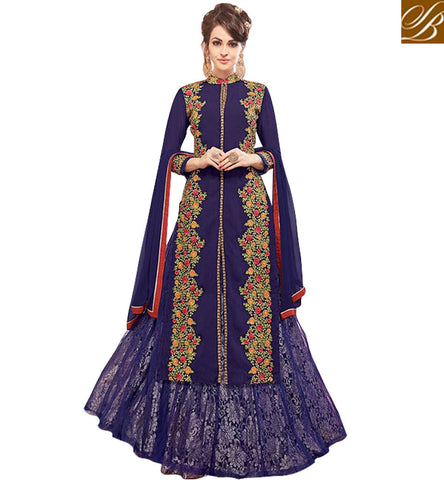 STYLISH ABZAAR BLUE DESIGNER LONG KAMEEZ WITH DUAL BOTTOM CHOICE OF GHAGHRA OR SHALWAR SUMMER WEAR WOMENS SUITS MNJ47930