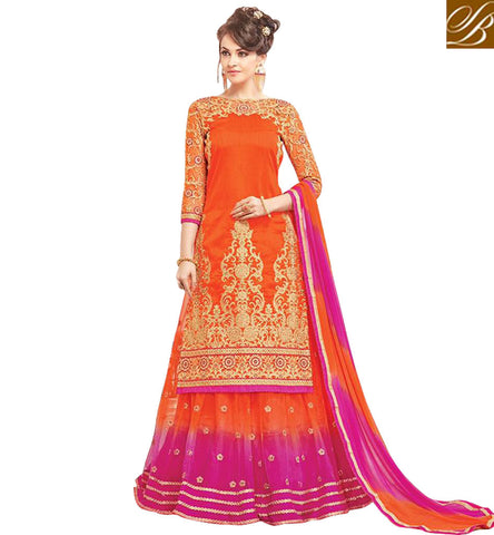 STYLISH BAZAAR SHINING-ORANGE-PINK COMBINATION LONG KAMEEZ AND SALWAAR OR GHAGHRA DUAL BOTTOM CHOOSE ONE INDIAN ETHNIC WEAR COLLECTION MNJ47931