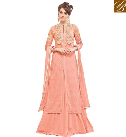 STYLISH BAZAAR CLASSICAL PEACH DESIGNER KAMEEZ AND LEHENGA OR SALWAAR CHOOSE ONE BOTTOM INDIAN TRADITIONAL WEDDING WEAR FOR WOMEN MNJ47932
