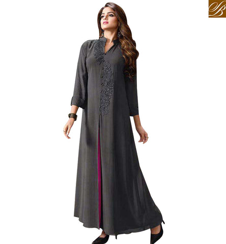STYLISH BAZAAR SHOP GOOD LOOKING GREY GEORGETTE CASUAL WEAR LONG DESIGNER KURTI LTNT701