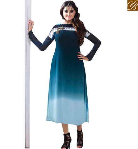 STYLISH BAZAAR ELEGANT BLUE SHADED GEORGETTE CASUAL WEAR FULL SLEEVES KURTI LTNT703