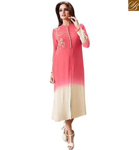 STYLISH BAZAAR SIGNIFICANT PINK AND CREAM GEORGETTE CASUAL WEAR KURTI LTNT706