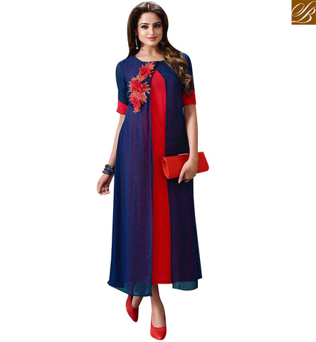 STYLISH BAZAAR ATTRACTIVE BLUE AND RED GEORGETTE SLIT CUT KURTI WITH LOVELY PATCH LTNT707
