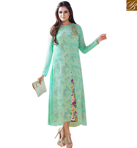 STYLISH BAZAAR STUNNING SEA GREEN GEORGETTE CASUAL WEAR KURTI WITH PATCH LTNT709