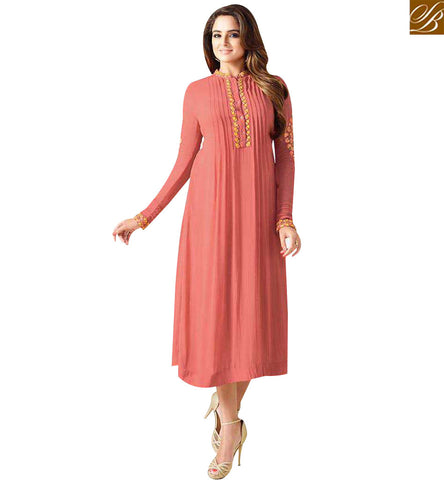 STYLISH BAZAAR DAZZLING PEACH GEORGETTE CASUAL WEAR FULL SLEEVES KURTI LTNT710