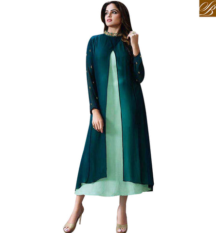 STYLISH BAZAAR WONDERFUL GREEN GEORGETTE WELL DESIGNED KURTI WITH SLIT FROM MIDDLE LTNT711