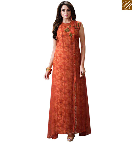 STYLISH BAZAAR DELIGHTFUL ORANGE CHIFFON CASUAL WEAR LONG DESIGNER KURTI LTNT712