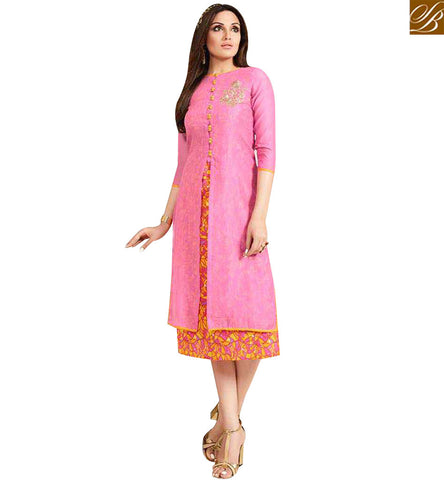 STYLISH BAZAAR SPLENDID PINK CHANDERI WELL DECORATED CASUAL WEAR KURTI LTNT713