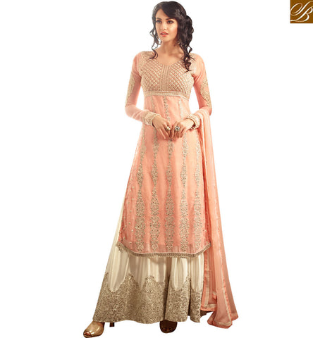 STYLISH BAZAAR BEAUTIFUL PEACH CHIFFON EMBROIDERED STRAIGHT CUT PLAZZO STYLE SALWAR SUIT MNMHN30001A