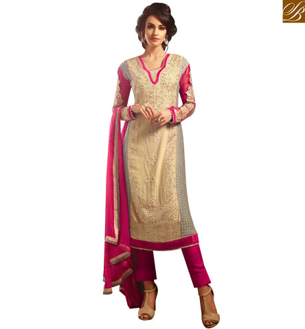 STYLISH BAZAAR SURPRISING BEIGE AND PINK CHIFFON WELL EMBROIDERED TROUSER STYLE STRAIGHT CUT SUIT MNMHN30002