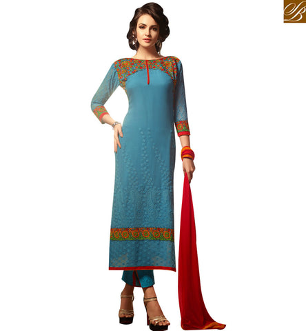 STYLISH BAZAAR STUNNING BLUE GEORGETTE STRAIGHT CUT FLOWER EMBROIDERED SALWAR KAMEEZ MNMHN30003