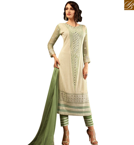 STYLISH BAZAAR DAZZLING CREAM AND GREEN CHIFFON DESIGNER STRAIGHT CUT TROUSER STYLE SALWAR KAMEEZ MNMHN30004