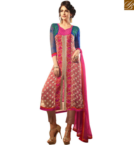 STYLISH BAZAAR WONDERFUL PINK CHIFFON WELL DESIGNED STRAIGHT CUT CASUAL WEAR SUIT MNMHN30005