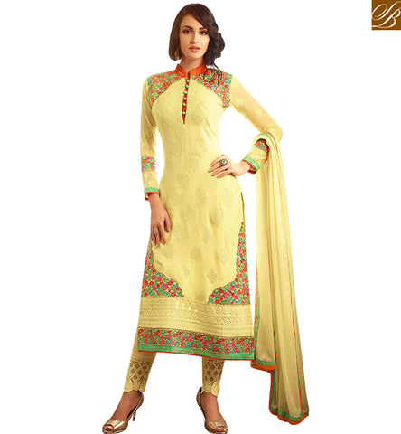 STYLISH BAZAAR AMAZING MUSTARD GEORGETTE HAVING EMBROIDERED STRAIGHT CUT DESIGNER SUIT MNMHN30006A