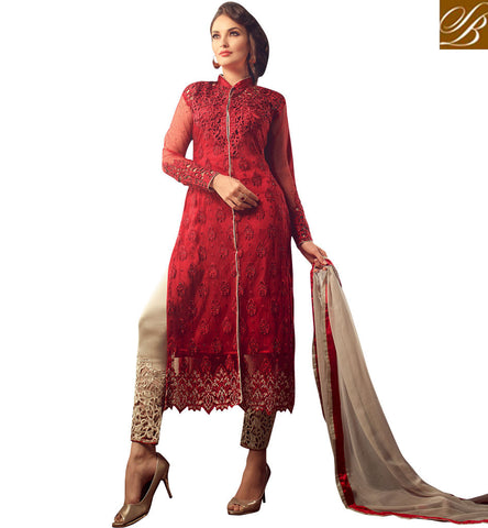 STYLISH BAZAAR AMAZING RED NET STRAIGHT CUT EMBROIDERED DESIGNER SALWAR SUIT MNMHN31002