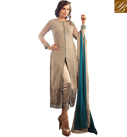 STYLISH BAZAAR ELEGANT CREAM COLOUR PARTY WEAR SUIT HAVING CIGARETTE STYLE PANT MNMHN31003