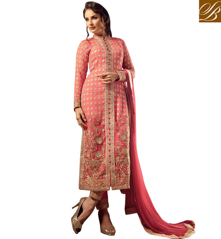 STYLISH BAZAAR SHOP PEACH COLOUR HAVING WELL EMBROIDERY EYE CATCHING PARTY WEAR DRESS MNMHN31004