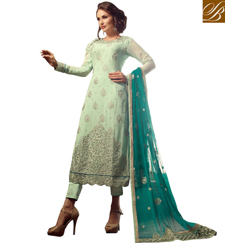 STYLISH BAZAAR STYLISH SEA GREEN GEORGETTE EMBROIDERED STRAIGHT CUT SUIT HAVING CIGARETTE PANT MNMHN31005