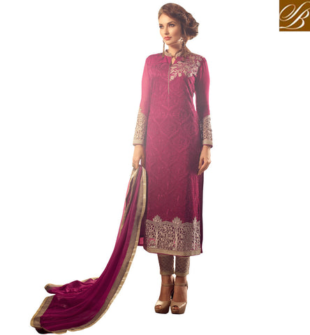 STYLISH BAZAAR PRESENTS ATTRACTIVE MAROON GEORGETTE DISPLAYING BEAUTIFUL EMBROIDERY WITH CIGARETTE PANT MNMHN31006