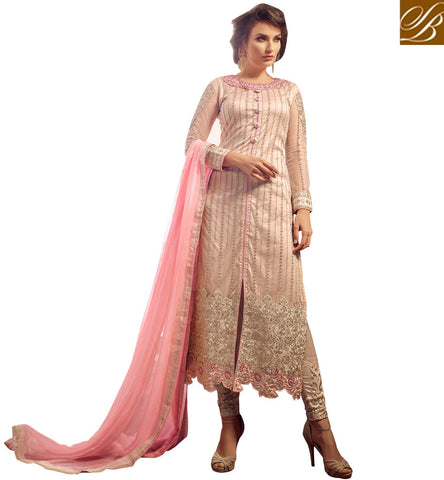 STYLISH BAZAAR STUNNING PEACH NET DESIGNER STRAIGHT CUT HAVING CIGARETTE PANT STYLE DRESS MNMHN31007
