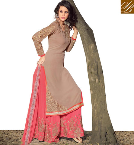 STYLISH BAZAAR STUNNING PINK AND GREY STRAIGHT CUT PLAZZO STYLE PARTY WEAR SUIT WITH GLAMOROUS LOOK MNMHN32002