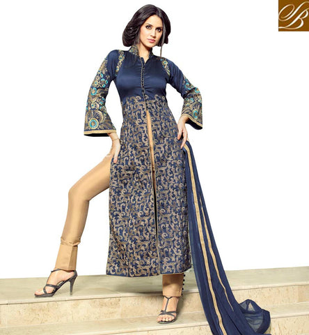 STYLISH BAZAAR MARVELLOUS BLUE SILK DESIGNER PARTY WEAR STRAIGHT SLIT CUT DRESS WITH BEIGE COLOUR TROUSER MNMHN32003