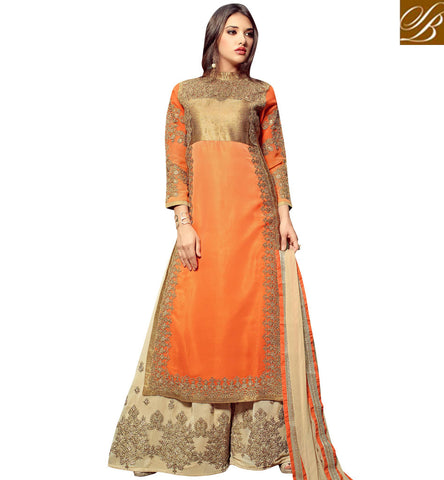 STYLISH BAZAAR MAGNIFICENT ORANGE COLOUR PARTY WEAR PLAZZO STYLE DESIGNER STRAIGHT CUT DRESS MNMHN32005