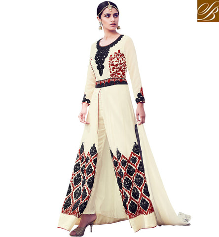 STYLISH BAZAAR SHOP CREAM COLOUR WELL DESIGNED PARTY WEAR SLIT CUT ANARKALI SALWAR KAMEEZ MNSJW33011