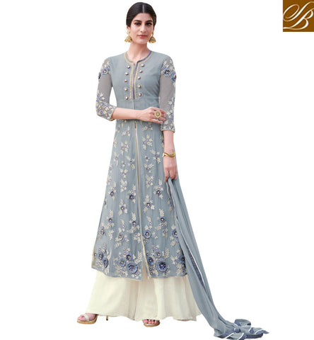 STYLISH BAZAAR APPRECIATING GREY COLOUR BEAUTIFUL EMBROIDERED PARTY WEAR PLAZZO STYLE SUIT MNSJW33014