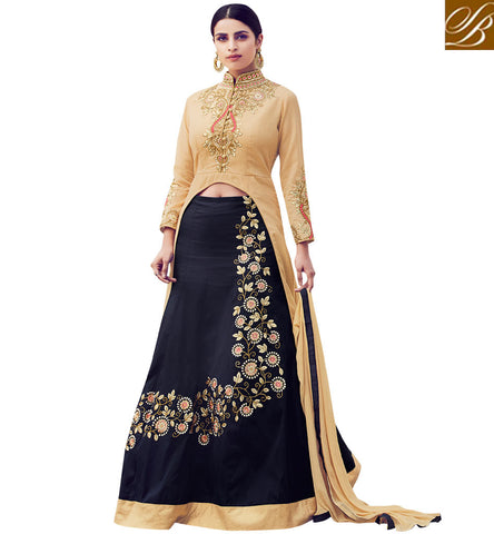 STYLISH BAZAAR ATTRACTIVE BEIGE AND BLACK DESIGNER PARTY WEAR LEHENGA STYLE EMBROIDERED SUIT MNSJW33015