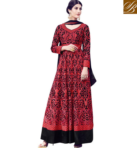 STYLISH BAZAAR ELEGANT BLACK AND RED HAVING THREAD WORK PARTY WEAR SUIT WITH BOUNTIFUL LOOK MNSJW33016