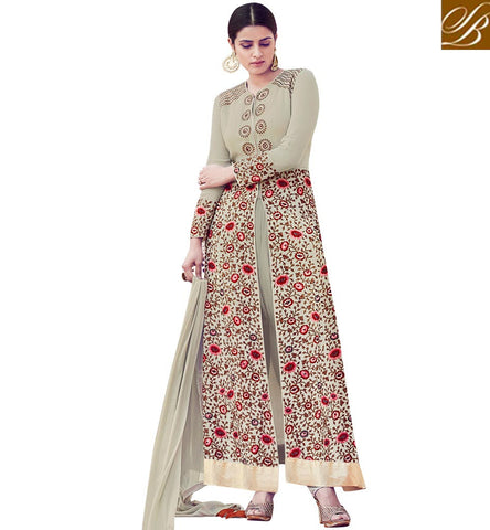 STYLISH BAZAAR STUNNING GREY COLOUR CONTAIN FLORAL EMBROIDERY WITH PARTY WEAR SLIT CUT ANARKALI SUIT MNSJW33017