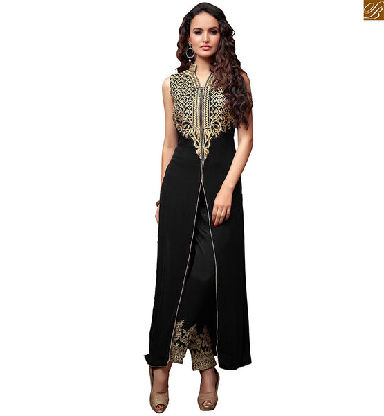 MAISHA STRAIGHT CUT INDIAN STYLE DRESS WITH EMBROIDERED TROUSERS, LATEST TREND OF LONG AND STRAIGHT CUT INDIAN STYLE DRESS WITH EMBROIDERED TROUSERS FOR OCCASION WEAR ONLINE SHOPPING