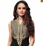 LATEST TREND OF LONG AND STRAIGHT CUT INDIAN STYLE DRESS WITH EMBROIDERED TROUSERS FOR OCCASION WEAR ONLINE SHOPPING  BLACK GEORGETTE LONG KAMEEZ AND SANTOON EMBROIDERED SALWAR WITH NAZNEEN DUPATTA