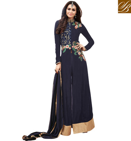 STYLISH BAZAAR NAVY BLUE GEORGETTE PARTY WEAR MAISHA ANARKALI SLIT CUT DRESS MSH3901