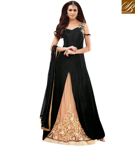 STYLISH BAZAAR BLACK GEORGETTE & AND BEIGE NET DESIGNER PARTY WEAR ANARKALI SUIT MSH3902