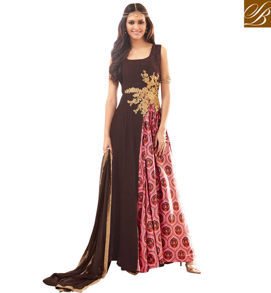 STYLISH BAZAAR SHOP BROWN AND PINK GEORGETTE PARTY WEAR MAISHA ANARKALI SLIT CUT DRESS MSH3903