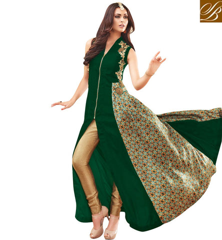 STYLISH BAZAAR ROYAL GREEN GEORGETTE HAVING BANARASI BROCADE PARTY WEAR MAISHA SUIT MSH3904