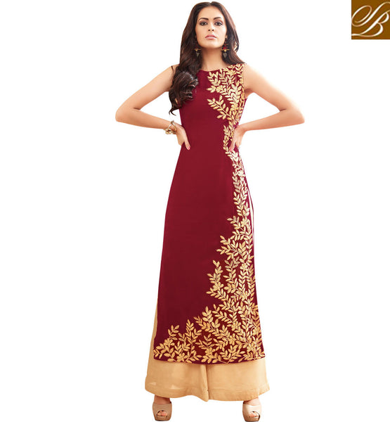STYLISH BAZAAR WONDERFUL MAROON GEORGETTE STRAIGHT CUT PLAZZO STYLE DESIGNER SUIT MAISHA MSH3905