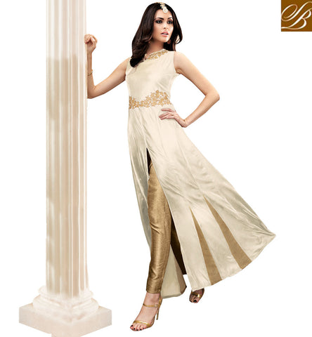 STYLISH BAZAAR OFF WHITE BANARASI SILK WELL EMBROIDERED PARTY WEAR ANRAKALI DESIGNER MAISHA SUIT MSH3906