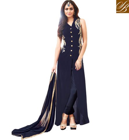 STYLISH BAZAAR BUY NAVY BLUE MAISHA SUIT HAVING PATCH WORK WITH PARTY WEAR DESIGNER WORK MSH3907