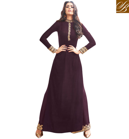 STYLISH BAZAAR ATTRACTIVE BROWN GEORGETTE STRAIGHT CUT PLAZZO STYLE MAISHA LONG DRESS MSH3908
